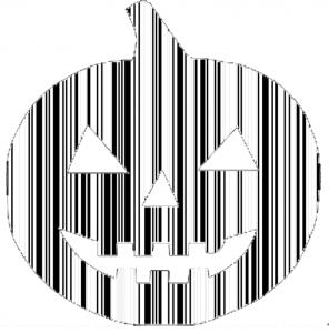 A spooktastic pumpkin-shaped barcode